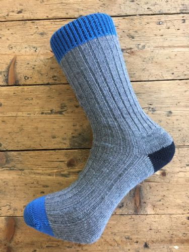 Men's Wool Socks - Grey Black Blue - Machine Washable.